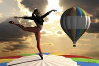 Sky Dancer on Pointe Atop Hot Air Balloon