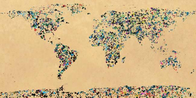 Paint splatter world map 2 by Guillermo Gonzalez