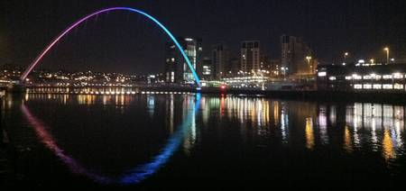 Millenium Bridge and Baltic at Night