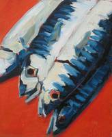 Blue Fish on red cloth