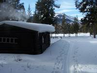 Huckleberry cabin in winter