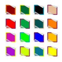 double rounded rectangle colored stickers isolated