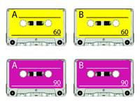 retro audio tapes against white