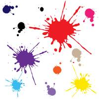 splats in colors against white