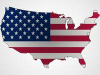 us flag and map abstract