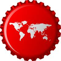 white world map on red bottle cap