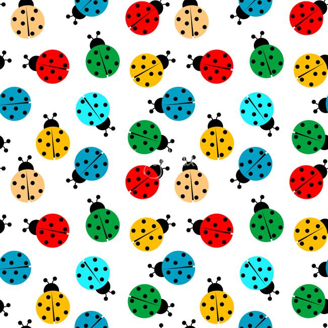 ladybugs in colors seamless pattern