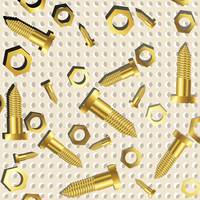 screws and nuts over metallic texture