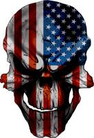 Smiling Skull overlayed with the American Flag