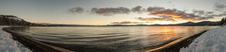 Kings Beach Winter Sunset Panorama