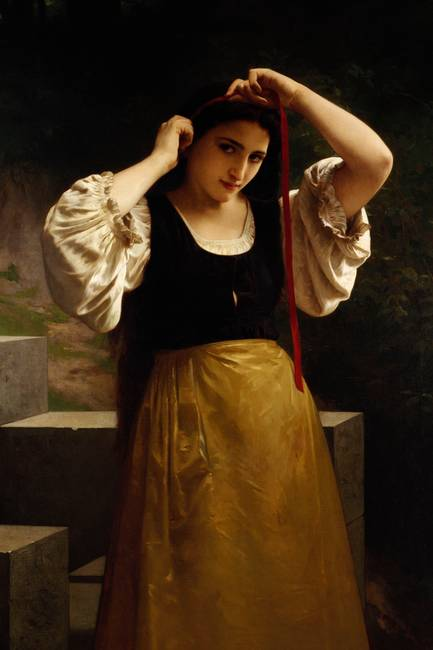 The Red Ribbon, 1869 )oil on canvas(