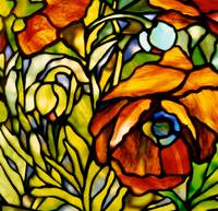 Detail of an 'Oriental Poppy' floor lamp, Tiffany