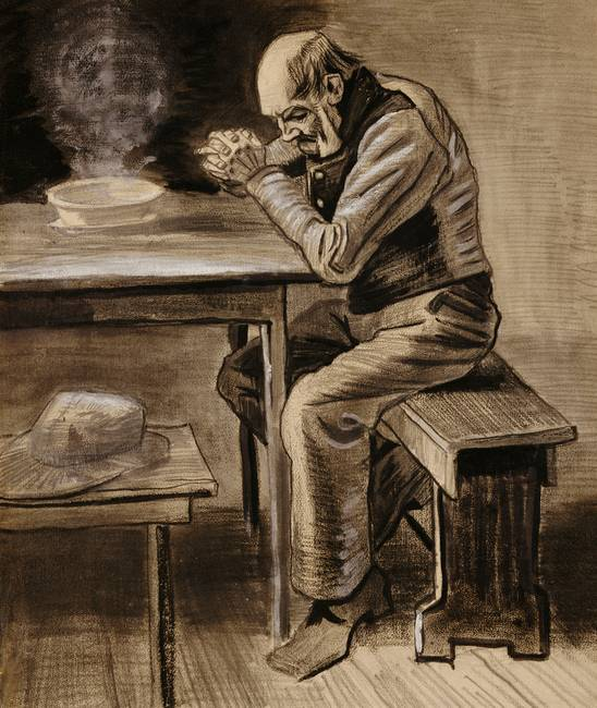 The Prayer, 1882 )pencil, charcoal & ink heightene