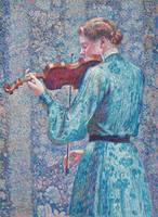 Marie-Anne Weber playing the violin, 1903 (oil on