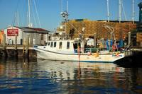 Fishing Boat and Docks in Newport, Rhode Island