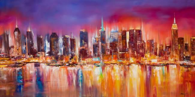 Vibrant new york city skyline by mitchell nick
