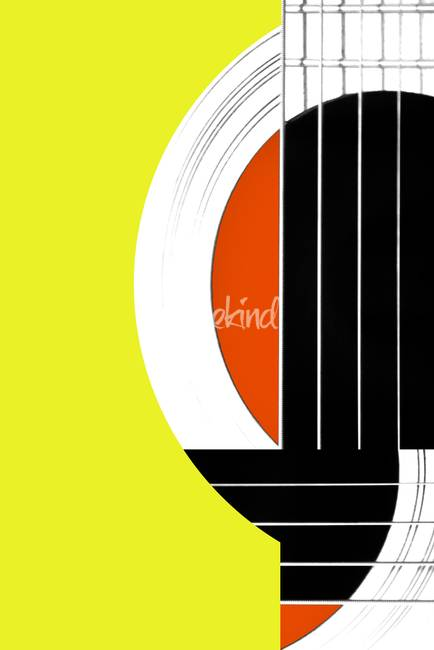 Geometric Guitar Abstract in Yellow and Orange
