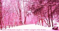 Pink Snow Scene with Spiritual Quote