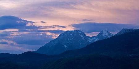 Kamnik Alps at sunset