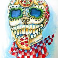 Pizza Sugar Skull Art Prints & Posters by Heather Calderon
