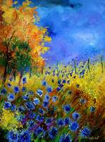 Blue poppies and orange tree by pol ledent
