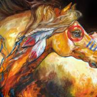 INDIAN WAR HORSE GOLDEN SUN by Marcia Baldwin
