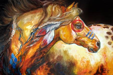 INDIAN WAR HORSE GOLDEN SUN