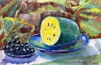 grapes and yellow watermelon