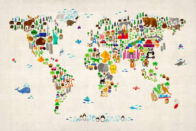 Stunning map of the world artwork for sale on fine art prints animal map of the world for children and kids by modernartprints 2013 sciox Images
