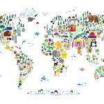 """Animal Map of the World for children and kids"" by ModernArtPrints"