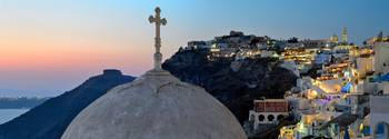Panoramic photo of Fira in Santorini, Greece