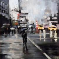 Rain in New York City Art Prints & Posters by NOVEEN KASMAEE