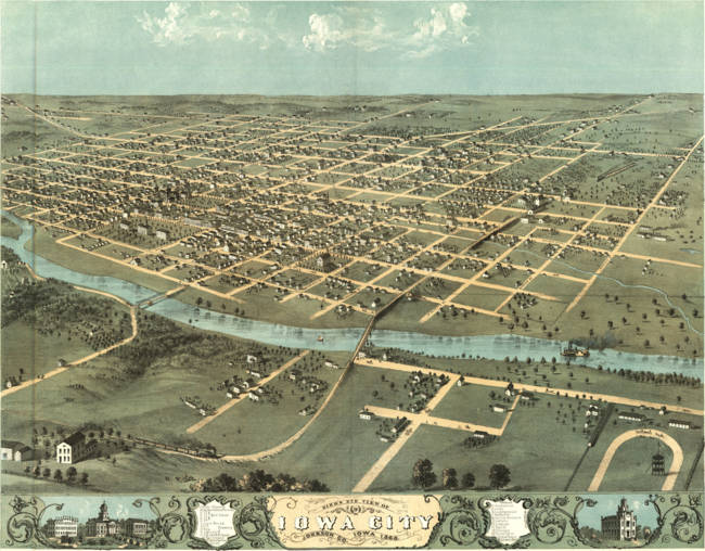 Vintage Pictorial Map of Iowa City )1868(
