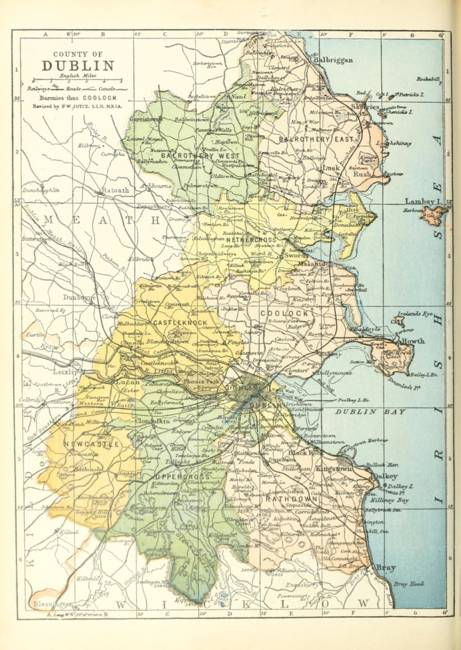 Map Of Dublin Ireland And Surrounding Area.Vintage Map Of Dublin Ireland And Surrounding Area By Vintage Map Store