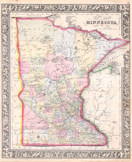 Vintage Map of Minnesota )1864(
