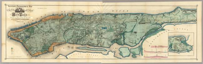 Vintage Map of New York City )1865(