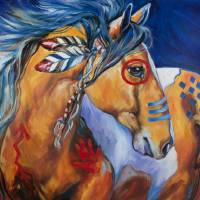 BOLD AND BRAVE INDIAN WAR HORSE  by Marcia Baldwin