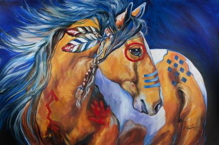 BOLD AND BRAVE INDIAN WAR HORSE