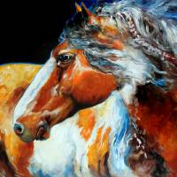 """""""MOHICAN INDIAN WAR HORSE"""" by MBaldwinFineArt2006"""