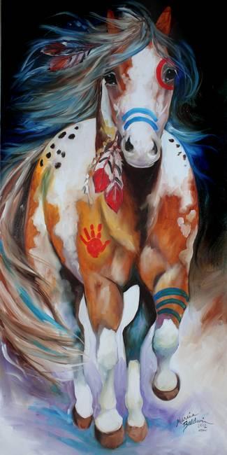 INDIAN WAR HORSE RUNNING