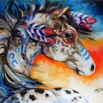 """APPALOOSA INDIAN WAR HORSE"" by MBaldwinFineArt2006"