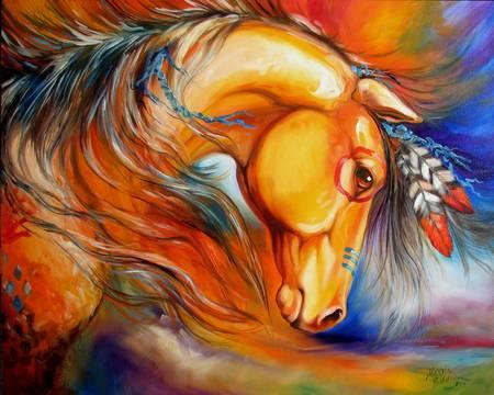 INDIAN WAR HORSE SETTING SUN