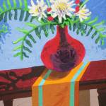 Flowers In A Red Vase by Michael Anderson