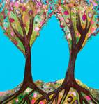 Two Cherry Trees in Turquoise