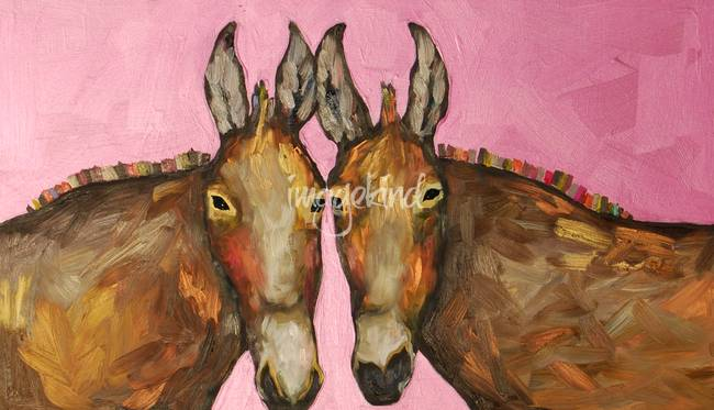 Two Donkeys in Hot Pink