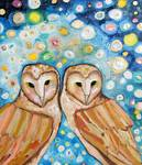 Two Barn Owls in Fireflies