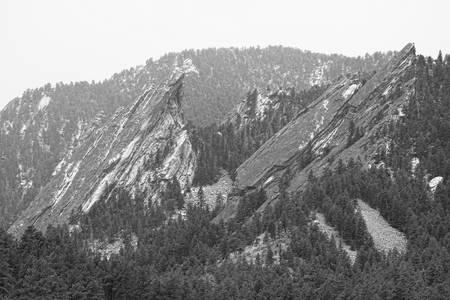 Second and Third Flatirons Boulder Colorado BW