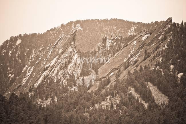 Second and Third Flatirons Boulder Colorado Sepia