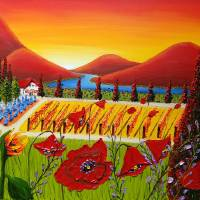 Red Poppies Wine Vineyard Of Tuscany 2 Art Prints & Posters by James Dunbar