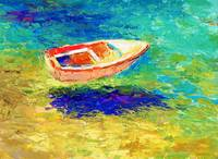 boat in the ocean painting Svetlana Novikova